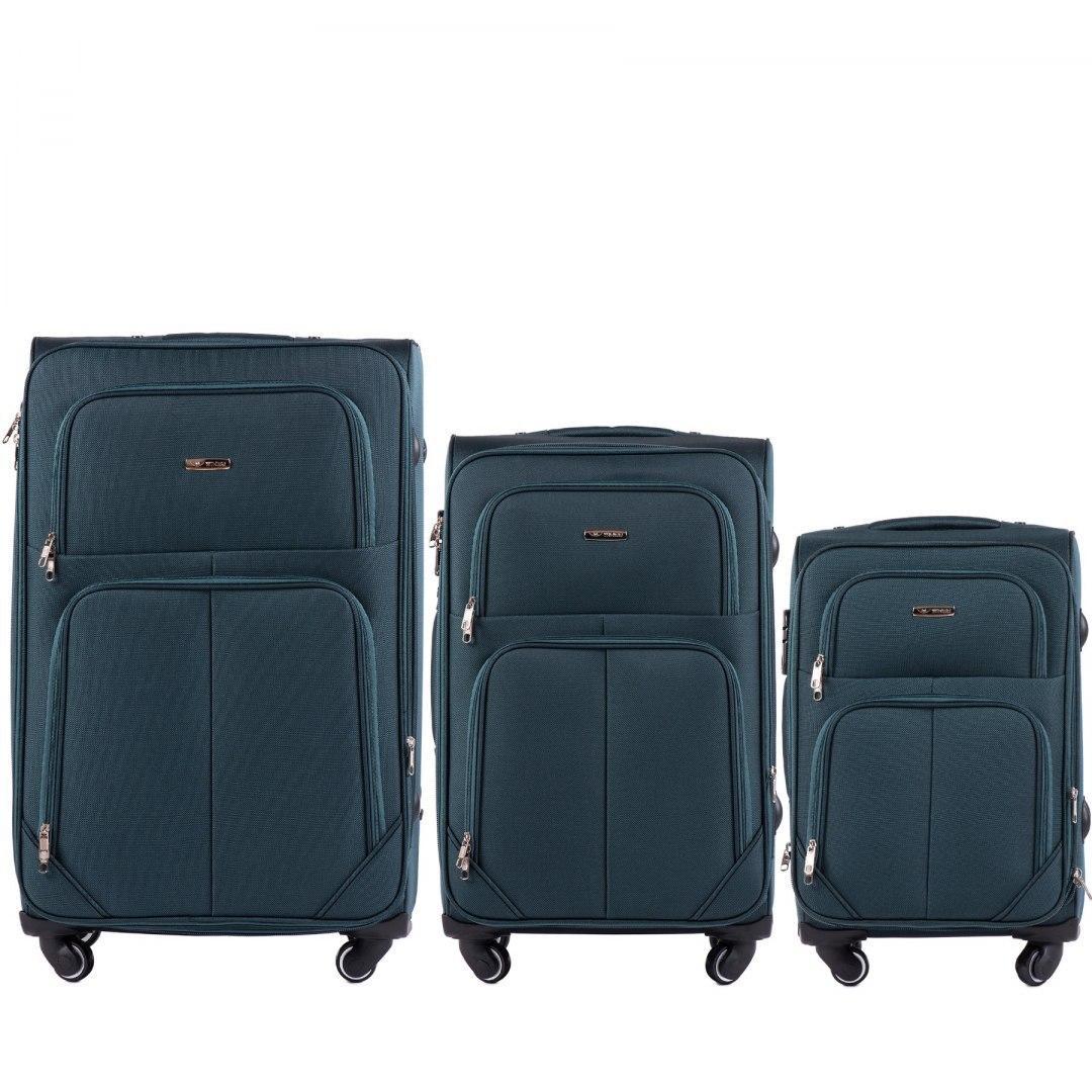 Набор чемоданов 3 штуки в 1 Wings 214 на 4 колесах Темно-зеленый