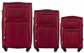 Набор чемоданов 3 штуки в 1 Wings 214 на 4 колесах Бордовый