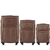 Набор чемоданов 3 штуки в 1 Wings 214 на 4 колесах Песочный