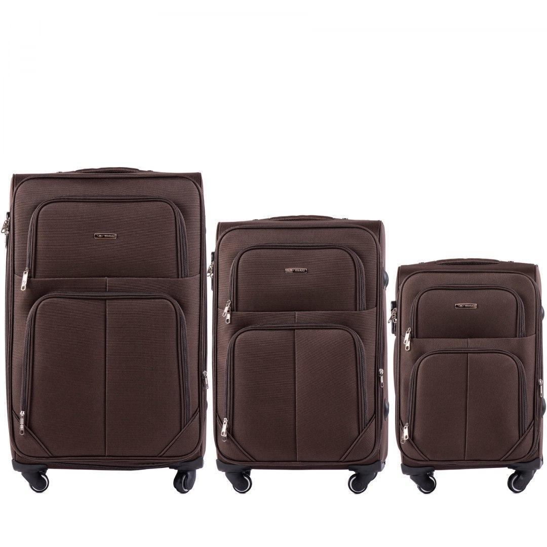 Набор чемоданов 3 штуки в 1 Wings 214 на 4 колесах Коричневый