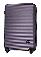 Чемодан Fly 91240 большой 75х49х29 см 90л пластиковый на 4 колесах Серебряно-фиолетовый