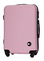 Чемодан Fly 91240 средний 65х42х24 см 60л пластиковый на 4 колесах Светло-розовый
