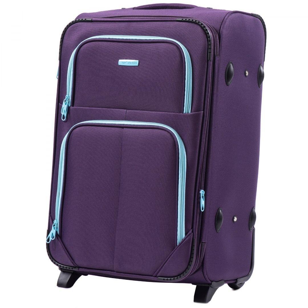 Чемодан Wings 214 средний 64х43х28 см 72 л тканевый на 2 колесах Фиолетовый