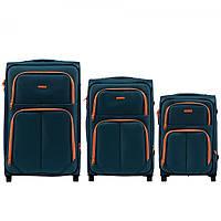 Набор чемоданов 3 штуки в 1 Wings 214 на 2 колесах Темно-зеленый