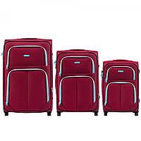 Набор чемоданов 3 штуки в 1 Wings 214 на 2 колесах Бордовый