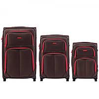 Набор чемоданов 3 штуки в 1 Wings 214 на 2 колесах Коричневый
