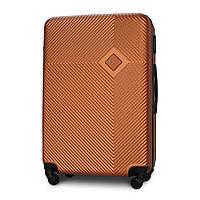 Чемодан Fly 2130 большой 75х50х27 см 94 л пластиковый на 4 колесах Оранжевый
