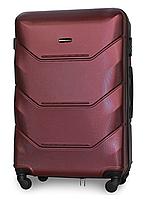 Чемодан Fly 147 большой 78х49х28 см 90л пластиковый на 4 колесах Бордовый
