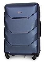 Чемодан Fly 147 большой 78х49х28 см 90л пластиковый на 4 колесах Темно-синий