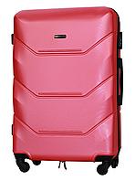 Чемодан Fly 147 большой 78х49х28 см 90л пластиковый на 4 колесах Темно-розовый