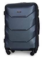 Чемодан Fly 147 средний 67х43х26 см 60 л пластиковый на 4 колесах Темно-синий