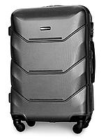 Чемодан Fly 147 средний 67х43х26 см 60л пластиковый на 4 колесах Темно-серый