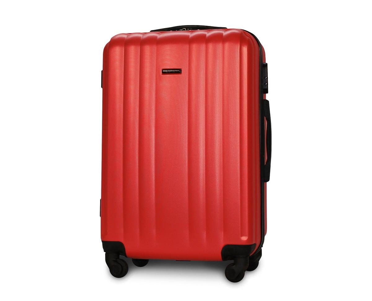 Чемодан средний Fly 614 пластиковый 64х42х25 см 64 л на 4 колесах Красный