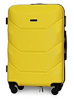 Чемодан Fly 147 средний 67х43х26 см 60л пластиковый на 4 колесах Желтый
