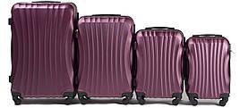 Набор чемоданов 4 штуки в 1 Wings 159 на 4 колесах Бордовый