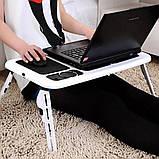 Стіл підставка під ноутбук Портативний розкладний столик трансформер з охолодженням для ноутбука E-TABLE, фото 8
