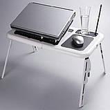 Стіл підставка під ноутбук Портативний розкладний столик трансформер з охолодженням для ноутбука E-TABLE, фото 7
