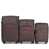 Набор чемоданов 3 штуки в 1 Wings 1708 на 4 колесах Кофе