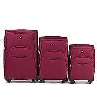 Набор чемоданов 3 штуки в 1 Wings 1708 на 4 колесах Бордовый