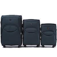 Набор чемоданов 3 штуки в 1 Wings 1708 на 4 колесах Зеленый
