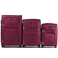 Набор чемоданов 3 штуки в 1 Wings 6802 на 2 колесах Бордовый