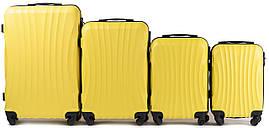 Набор чемоданов 4 штуки в 1 Wings 159 на 4 колесах Желтый