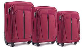 Набор чемоданов 3 штуки в 1 Wings 1706 на 4 колесах Бордовый