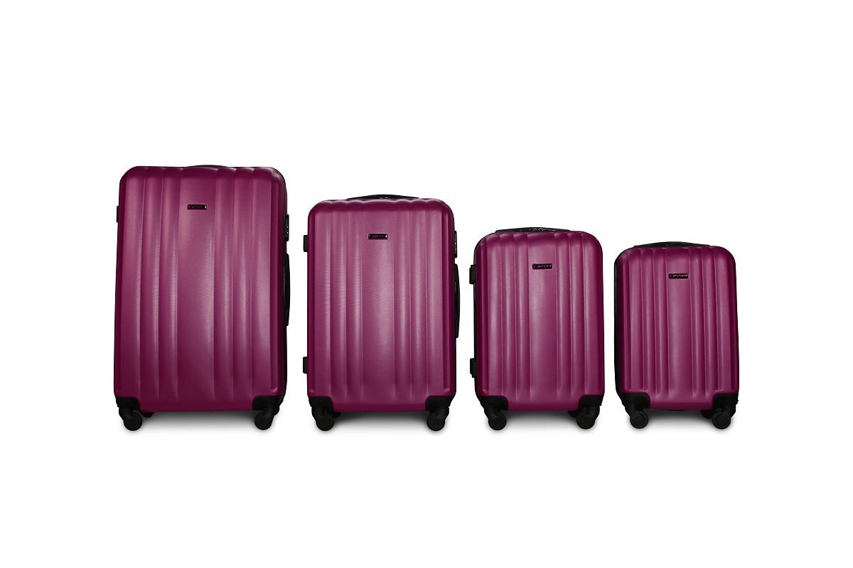 Набор чемоданов 4 штуки в 1 Fly 614 на 4 колесах Темно-фиолетовый