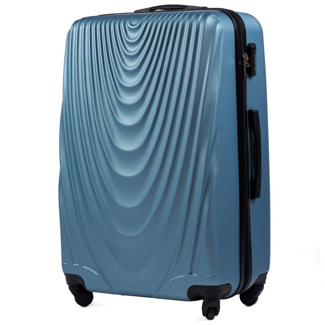 Чемодан Wings 304 большой 77х48х32 см 95л пластиковый на 4 колесах Ярко-синий