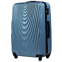 Чемодан Wings 304 большой 77х48х32 см 95л пластиковый на 4 колесах Ярко-синий, фото 1