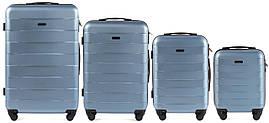Набор чемоданов 4 штуки в 1 Wings 401 на 4 колесах Голубое серебро