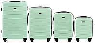 Набор чемоданов 4 штуки в 1 Wings 401 на 4 колесах Мята, фото 1