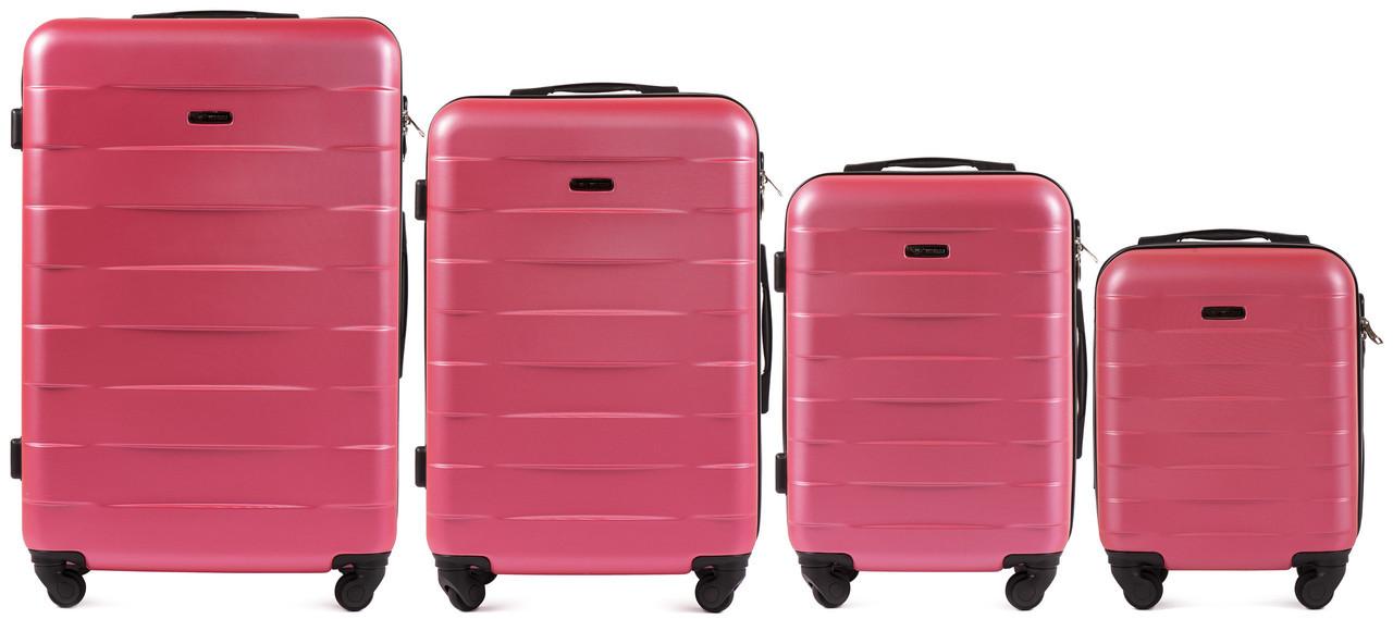 Набор чемоданов 4 штуки в 1 Wings 401 на 4 колесах Коралловый