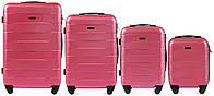 Набор чемоданов 4 штуки в 1 Wings 401 на 4 колесах Коралловый, фото 1