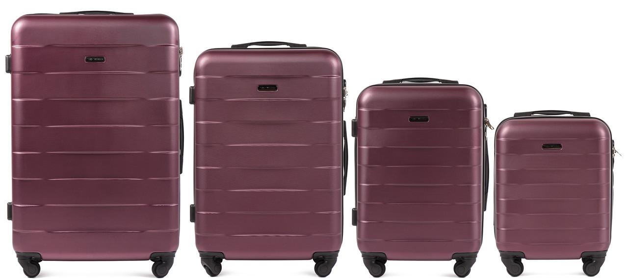 Набор чемоданов 4 штуки в 1 Wings 401 на 4 колесах Бордовый
