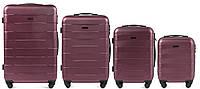 Набор чемоданов 4 штуки в 1 Wings 401 на 4 колесах Бордовый, фото 1