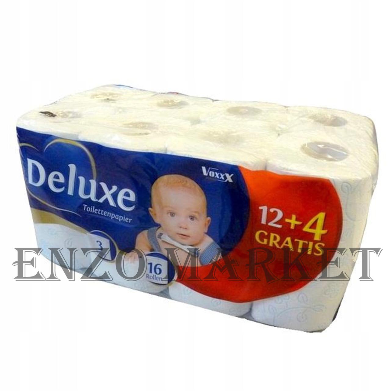 Туалетная бумага Deluxe, 16 рулонов, 3-х слойная
