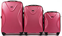 Набор чемоданов 3 штуки в 1 Wings 518 на 4 колесах Коралловый, фото 1