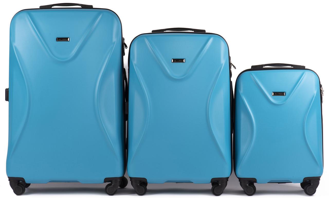 Набор чемоданов 3 штуки в 1 Wings 518 на 4 колесах Голубой