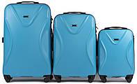 Набор чемоданов 3 штуки в 1 Wings 518 на 4 колесах Голубой, фото 1