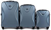 Набор чемоданов 3 штуки в 1 Wings 518 на 4 колесах Голубое серебро, фото 1