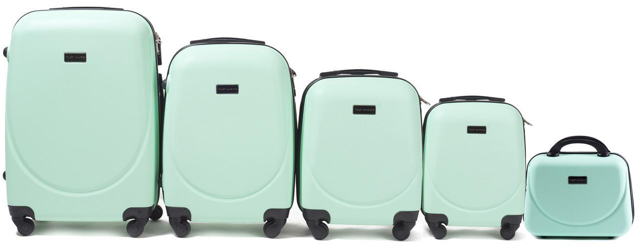 Набор чемоданов 5 штук в 1 Wings 310 на 4 колесах Мятный