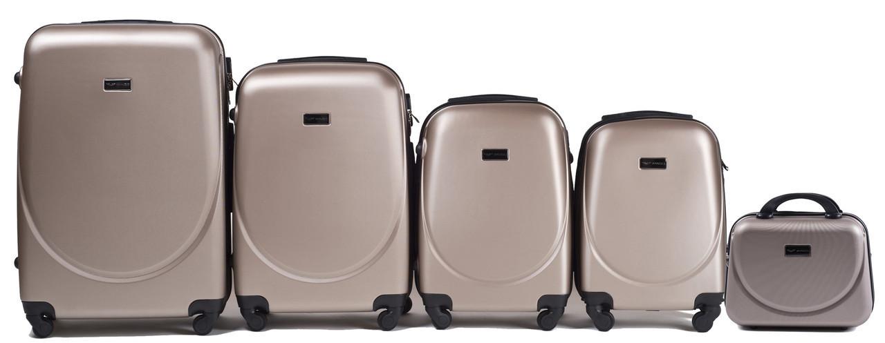 Набор чемоданов 5 штук в 1 Wings 310 на 4 колесах Шампань