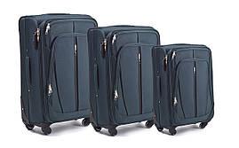 Набор чемоданов 3 штуки в 1 Wings 1706 на 4 колесах Зеленый