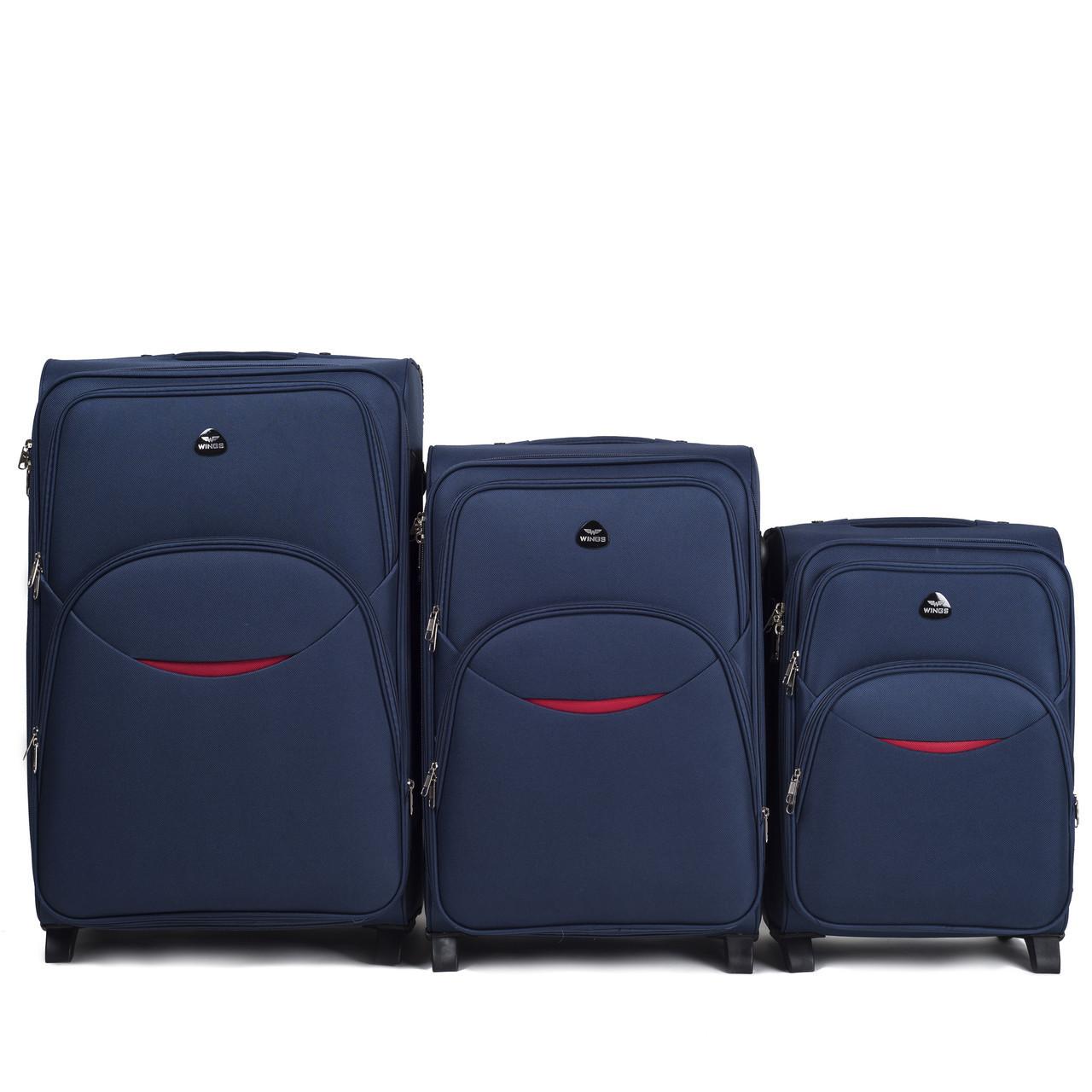 Набор чемоданов 3 штуки в 1 Wings 1708 на 2 колесах Темно-синий