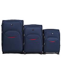 Набор чемоданов 3 штуки в 1 Wings 1708 на 2 колесах Темно-синий, фото 1