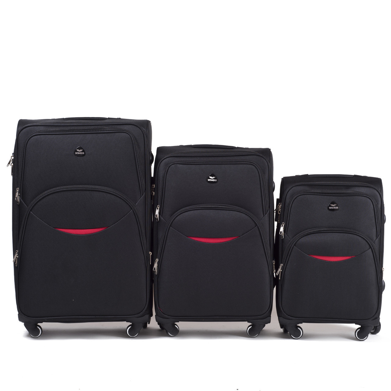 Набор чемоданов 3 штуки в 1 Wings 1708 на 4 колесах Черный