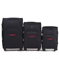 Набор чемоданов 3 штуки в 1 Wings 1708 на 4 колесах Черный, фото 1