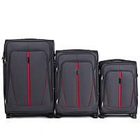 Набор чемоданов 3 штуки в 1 Wings 1706 на 2 колесах Серый