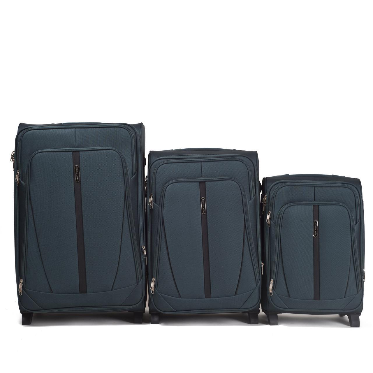 Набор чемоданов 3 штуки в 1 Wings 1706 на 2 колесах Зеленый
